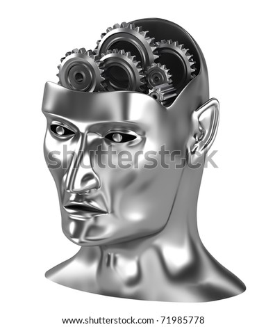 Brain gears thinking process isometric view isolated on white - stock photo
