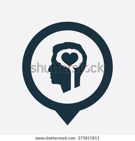 brain heart icon, on white background map pin - stock photo