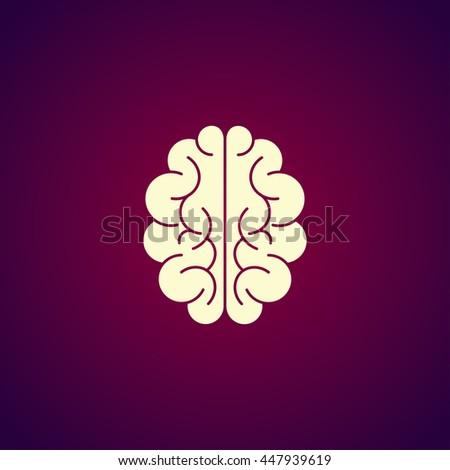 Brain icon. Flat style illustration.  - stock photo