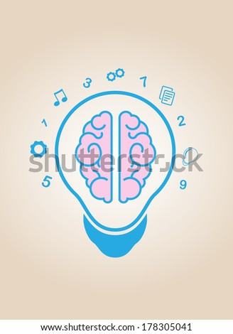 brain idea light bulb - stock photo