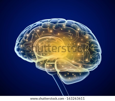 Brain impulses. Thinking prosess - stock photo