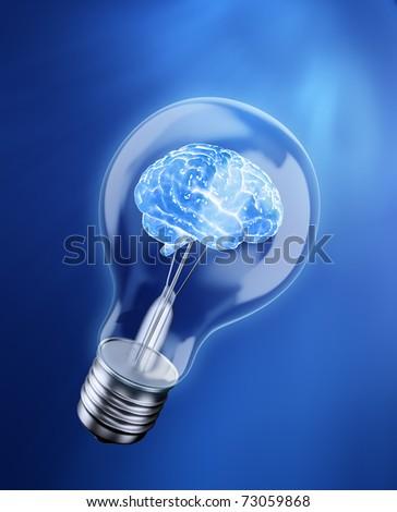 Brain in a bulb - idea concept - stock photo