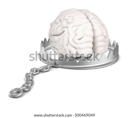 Brain in bear trap on isolated white background, close-up view - stock photo