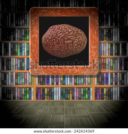 Brain in library room generated texture - stock photo