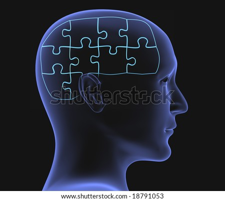 Brain in the form of the combined puzzle - stock photo