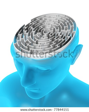 Brain in the form of the maze - stock photo