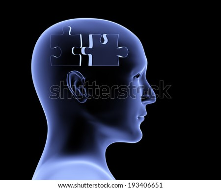 Brain in the form of the puzzle - stock photo