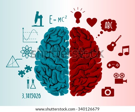 Brain infographics in two hemispheres with different thoughts - stock photo