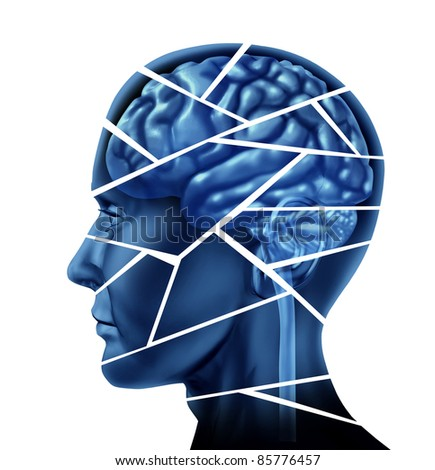 Brain injury and neurological disorder represented by a human head and mind broken in pieces to symbolize a severe medical mental trauma and cognitive illness on white background. - stock photo