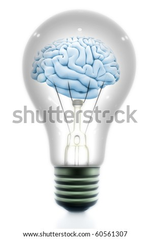 Brain inside a light bulb made in 3d - isolated over a white background - stock photo