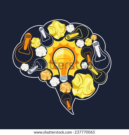 Brain inside which glowing light bulb and crumpled sheets of paper. Business idea concept cartoon flat design style. Raster version - stock photo