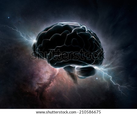 Brain inter-connected with the universe - conceptual digital art (Texture maps for 3D from NASA) - stock photo