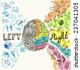 Brain left analytical and right creative hemispheres sketch concept  illustration - stock photo