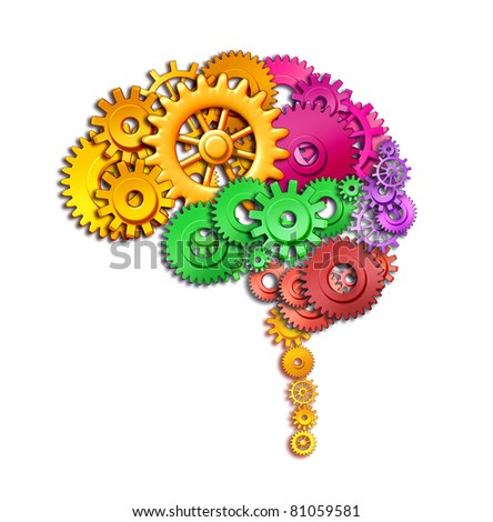 Brain lobe sections in multi color divisions of mental neurological lobes represented by gears and cogs showing the medical concept of neurological function of the human mind isolated on white. - stock photo