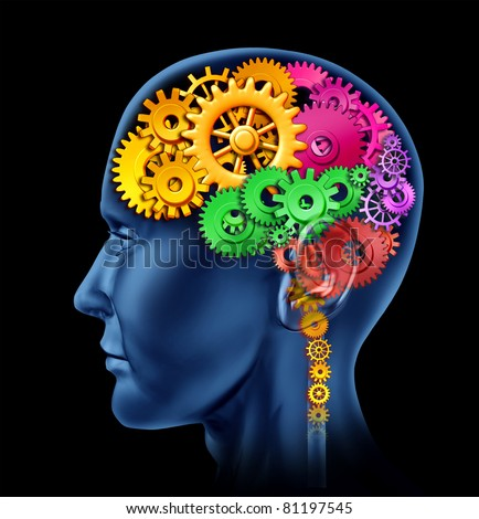 Brain lobe sections made of cogs and gears representing intelligence and divisions of mental neurological  activity. - stock photo