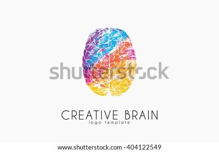 Brain logo. Color brain logo design. Creative brain. creative logo. - stock photo