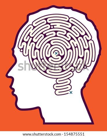 Brain Maze Puzzle inside Head  - stock photo