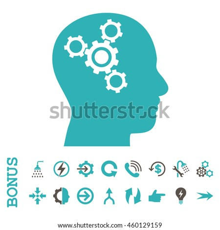 Brain Mechanics glyph bicolor icon. Image style is a flat pictogram symbol, grey and cyan colors, white background.
