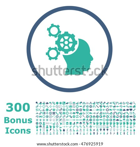 Brain Mechanics rounded icon with 300 bonus icons. Glyph illustration style is flat iconic bicolor symbols, cobalt and cyan colors, white background.