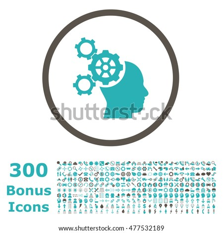 Brain Mechanics rounded icon with 300 bonus icons. Glyph illustration style is flat iconic bicolor symbols, grey and cyan colors, white background.