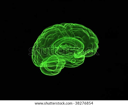 Brain model green xray look isolated on black background - stock photo