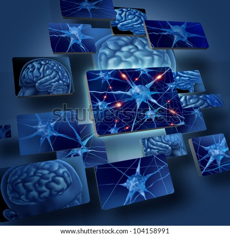 Brain neurons concepts as human brain medical symbol represented by geometric windows close up of neurons and organ cell activity showing intelligence related to memory. - stock photo