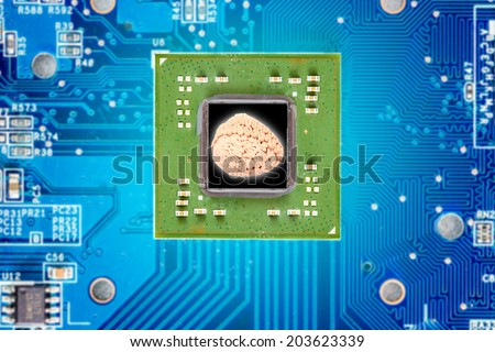 brain of microprocessor with circuit board electronic components idea concept for creativity  - stock photo