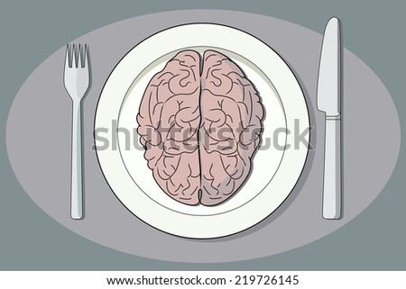 Brain on a plate, with fork and knife. - stock photo