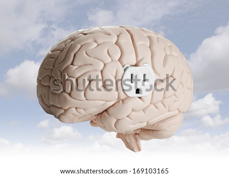 Brain power. Brain model with an electrical outlet. - stock photo