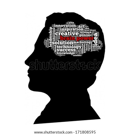 Brain power in word collage - stock photo