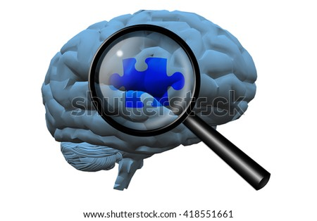 Brain Puzzle 3D Render - stock photo