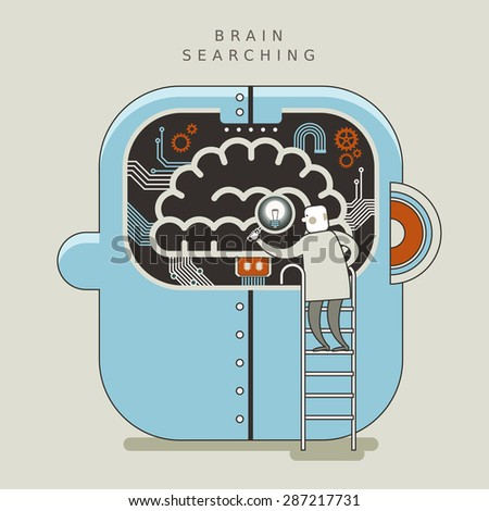 brain searching concept illustration in thin line style  - stock photo