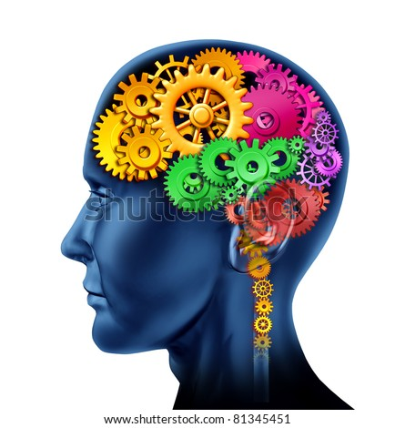Brain sections made of cogs and gears representing intelligence and divisions of mental neurological activity isolated on white. - stock photo