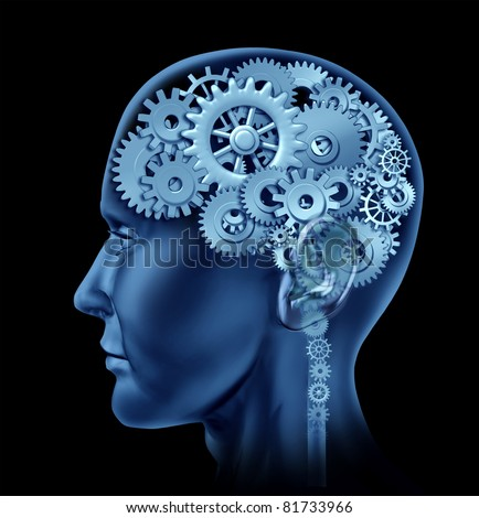 Brain sections made of cogs and gears representing intelligence and psychological mental neurological activity. - stock photo