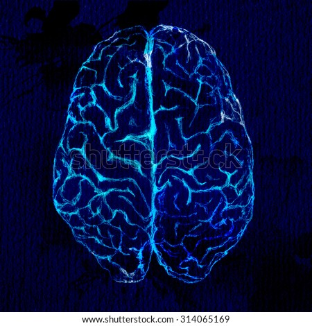 Brain sketch, top view. Black background and glowing lines.  - stock photo