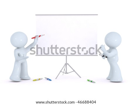 brain storming on a white board - stock photo