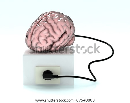 brain that you load from the mains socket - stock photo
