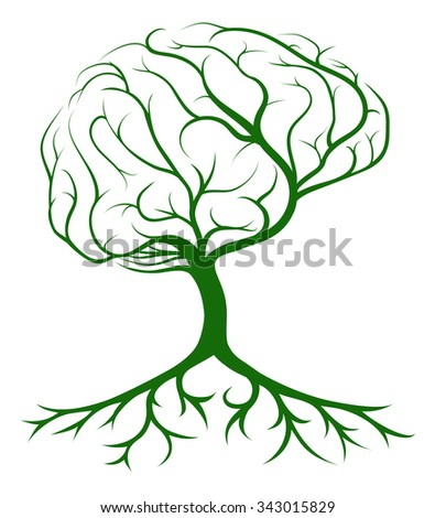 Brain tree concept of a tree growing in the shape of a human brain. Could be a concept for ideas or inspiration