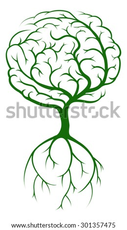 Brain tree concept of a tree growing in the shape of a human brain. Could be a concept the tree of knowledge - stock photo