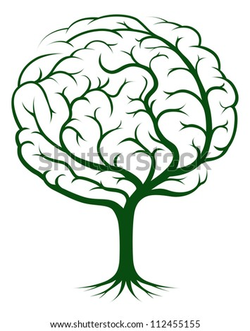 Brain tree illustration, tree of knowledge, medical, environmental or psychological concept - stock photo