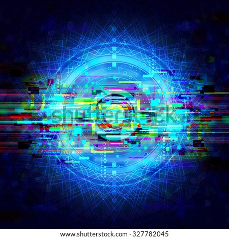 brain wave signal background, abstract circle energy technology illustration - stock photo