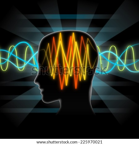Brain waves illustration - stock photo