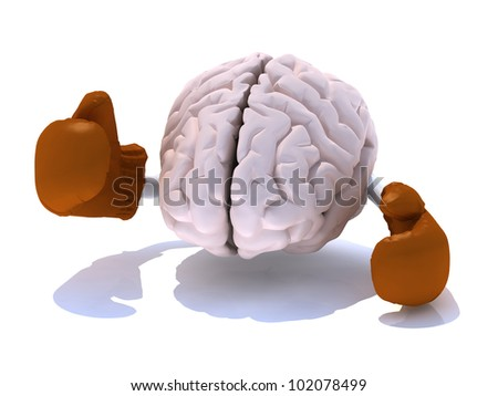 brain with boxing gloves in a fight, 3d illustration - stock photo