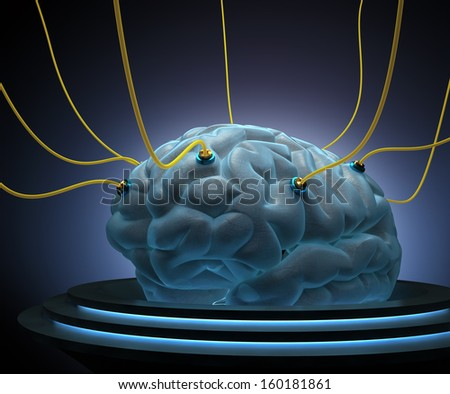 Brain with cables connected in a test of the power of the mind. - stock photo