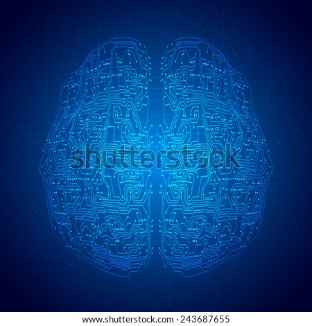 Brain with circuit board texture. Digital concept. Digitally background - stock photo