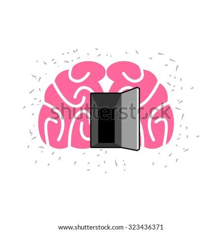 Brain with door open. Open mind.   - stock photo