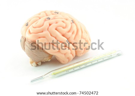 brain with thermometer - stock photo