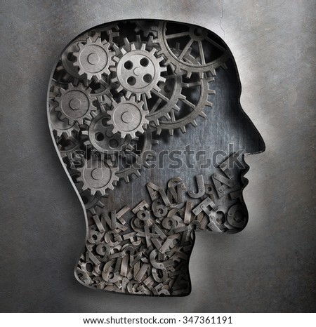 Brain work model. Thinking,  psychology, creativity, language concept. - stock photo
