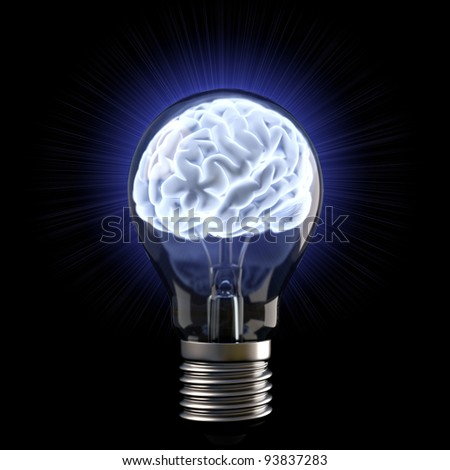 brains in the light bulb. isolated on white. - stock photo