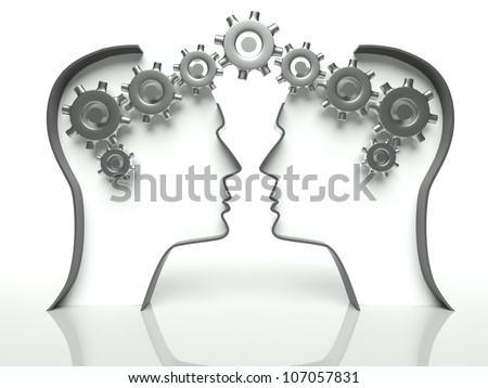 Brains made of gears in heads, concept of thinking and cooperation with communication - stock photo